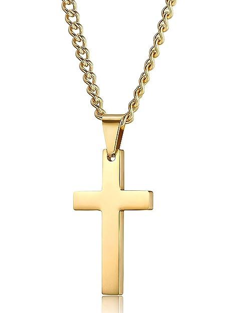 Jstyle Joyería de Acero Inoxidable Colgante Cruz Dorado para Mujeres y Hombres Collar Largo 56CM/61CM