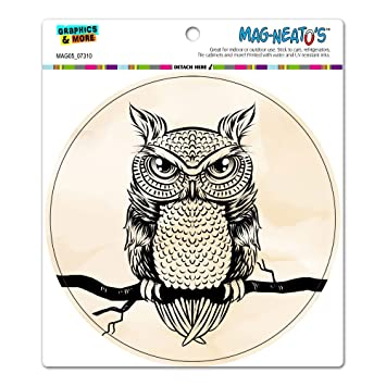owl perched on tree brand antique rustic tribal circle mag neato s