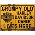Harley Davidson Inspired Grumpy Motorcycle Chopper Novelty Gift Aluminium Metal Tin Wall Décor Sign