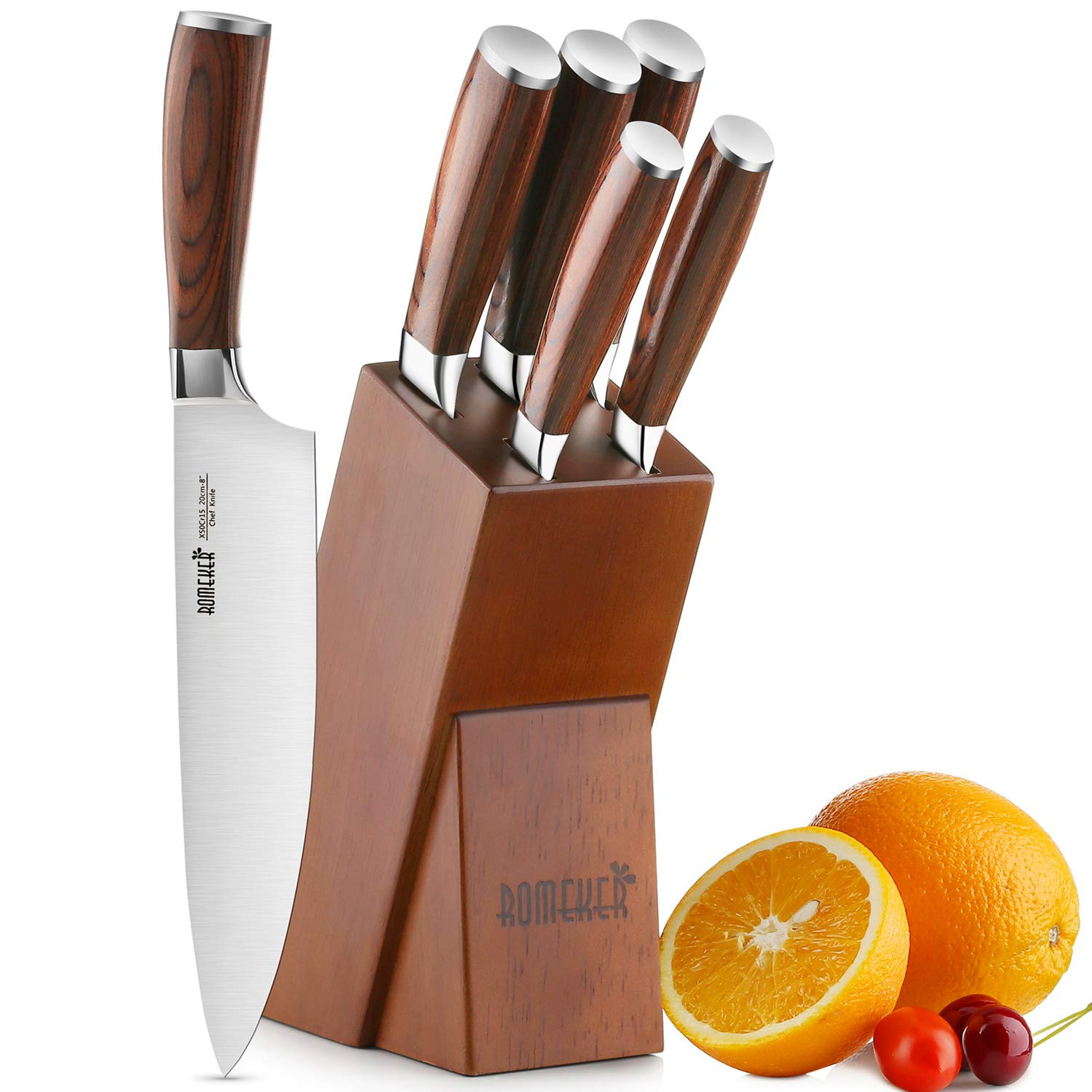 Knife Set,6-Piece Kitchen Knife Set with Wooden Block Germany High Carbon Stainless Steel Knife Block Set,Chef Knife Set Boxed Knife Set by ROMEKER by ROMEKER (Image #1)