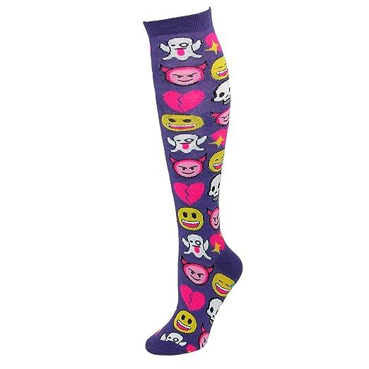 03a30833add CTM Women s Emoji Print Novelty Knee High Socks