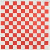 """Dry Waxed Deli Paper Sheets - Paper Liners for Plasic Food Basket - 100 Sheets 12x12"""" Red and White Checkered - Chefocity"""