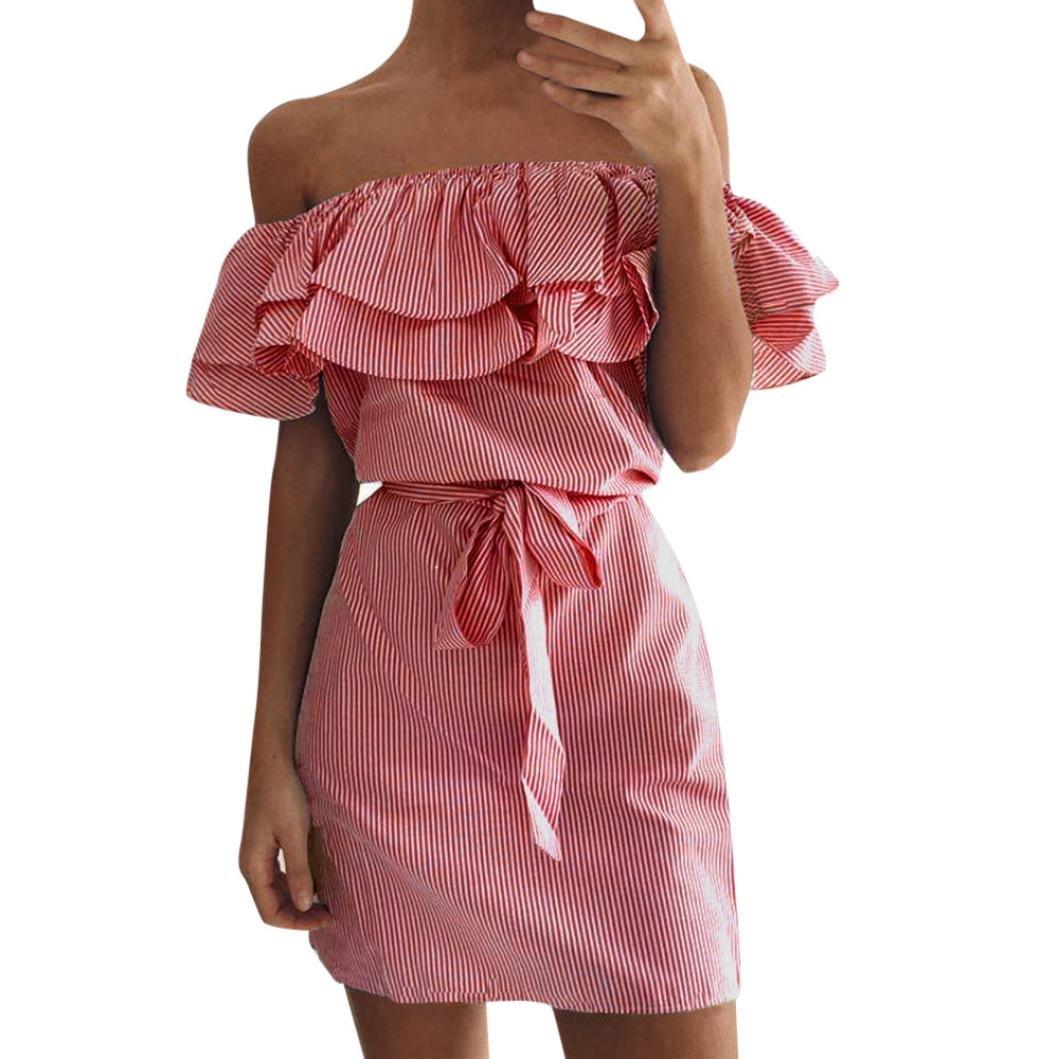 Nevera Women Summer Striped Print Sundress Fashion Off Shoulder Ruffle Dress with Belt