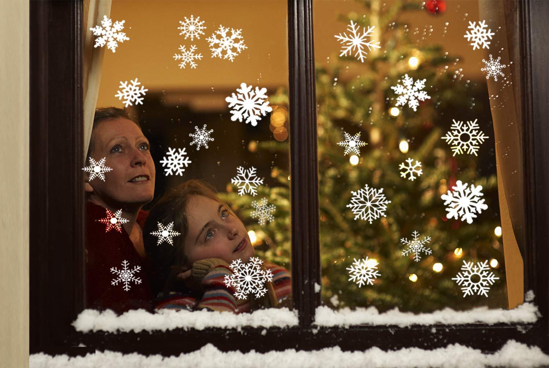 Tuopuda 104 Pezzi Adesivi Finestra a Fiocco di Neve da Aderire Decorazioni Natale Inverno Finestra Rimovibile Adesivi Murali Fai da te Finestra Decorazione Vetrina Wallpaper