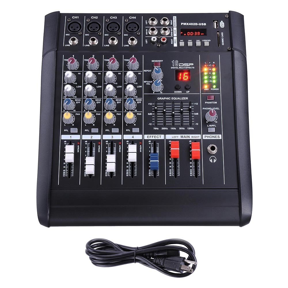 AW 4 Channel Professional Powered Mixer with USB Slot Power Mixing 110V