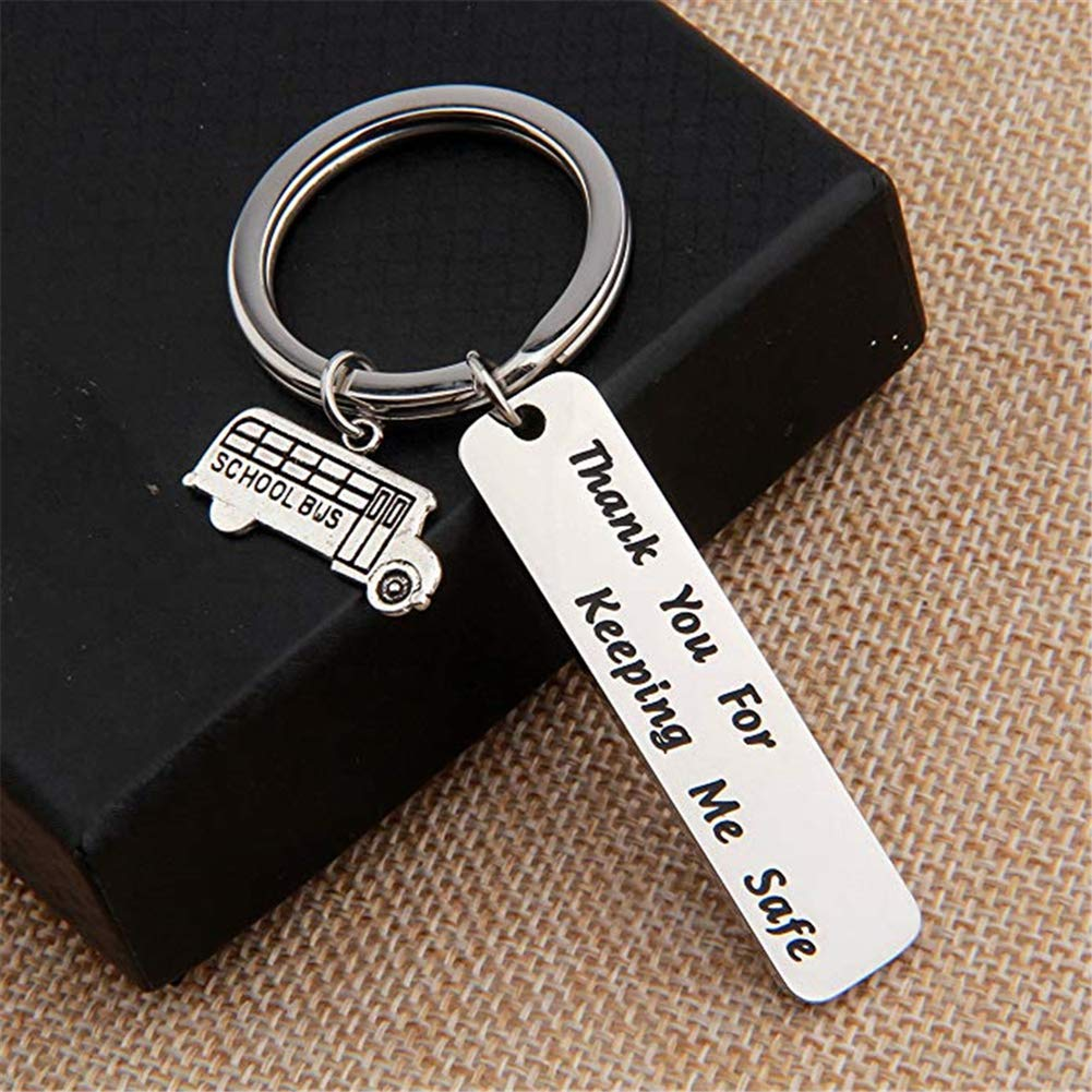 ywbtuechars Personalized Keychains Letters Print Bus Driver Keychain Handbag Key Chain Ring Appreciation Gifts