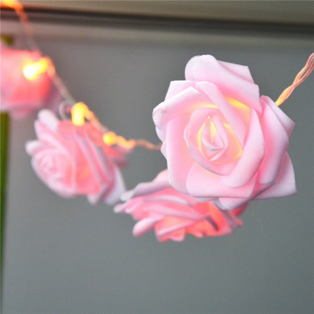 Avanti 20 Led Battery Operated String Romantic Flower Rose Fairy Light Lamp Outdoor for Valentine's Day, Wedding, Room, Garden, Christmass, Patio, Festival Party Decor (Hot Pink) by Avanti (Image #4)