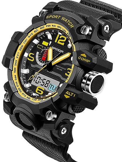 Sanda 5315 Reloj Digital Deportivo para Hombre Oro Militar al Aire Libre cronómetro Alarma Gran Cara Negro: Amazon.es: Relojes