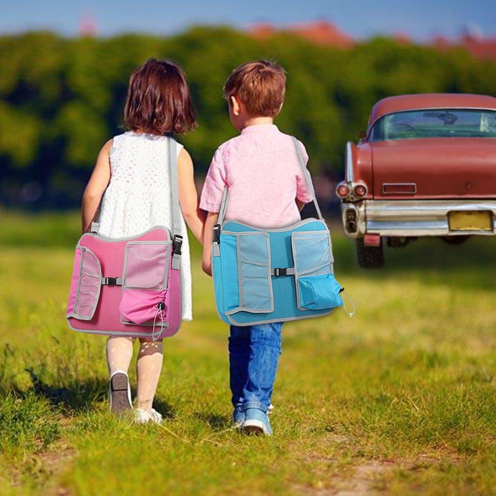 Bandeja de Viaje Azul EocuSun Bandejas de Juego u Bocadillo para ni/ños,con Bolsillos de Malla y Portavasos Mesa de Dibujo Multifunci/ón Port/átil para Asiento de Coche Kids Cochecitos de Viaje