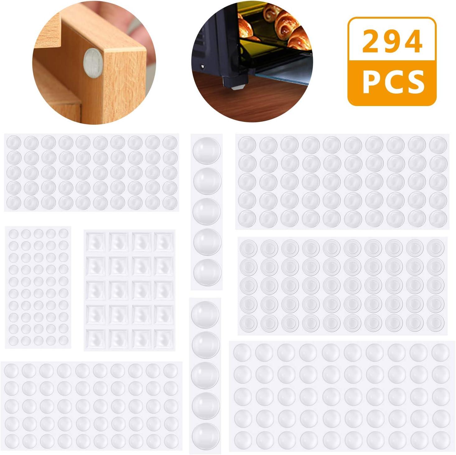 Lagrimas Silicona,Emooqi 294 Piezas Pies de Goma Transparentes,Gotas Silicona Adhesivas,Almohadilla Autoadhesiva,Amortiguación de Ruido,protector antigolpes,búfer muebles,8 Tamaños