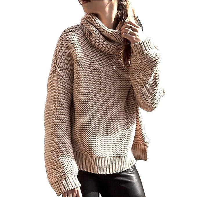 789536ae0059 Jersey Cuello Alto Mujer Espesor Termica Pullover Otoño Invierno Elegantes Manga  Larga High Collar Unicolor Ropa Casuales Anchos Moda Sweater Jerseys Suéter  ...