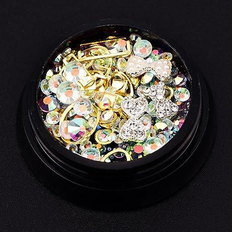 uñas decoracion, Sannysis 1 cajas con con remaches y cristales de resina de color oro