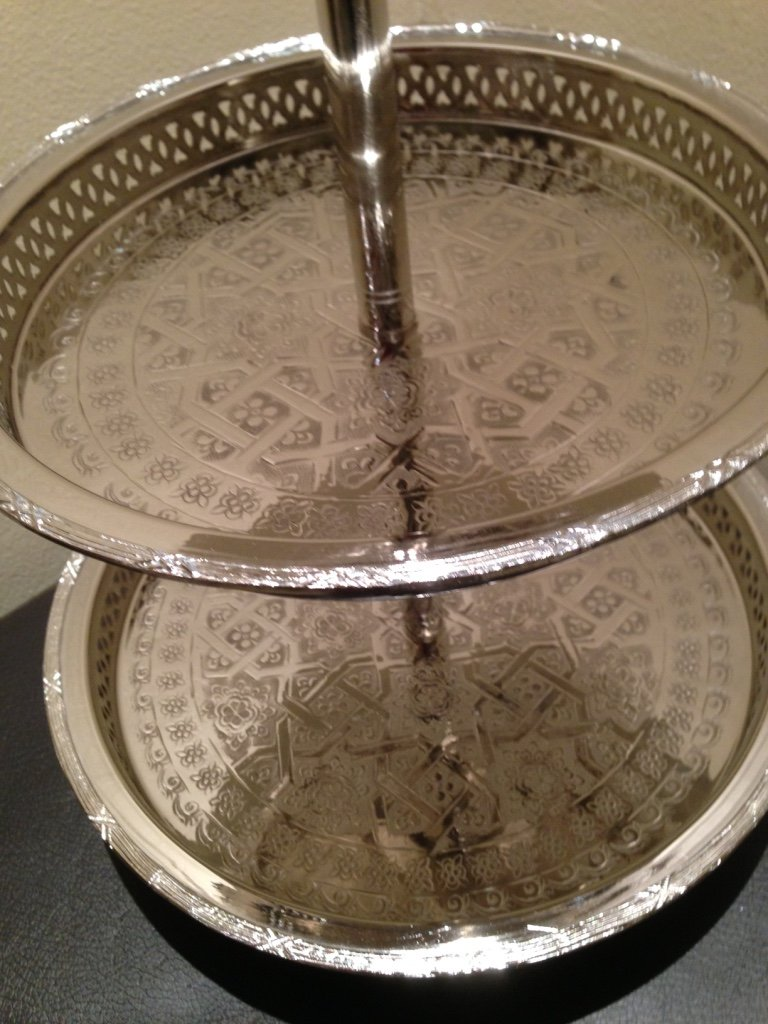 Authentic Handmade Moroccan 3 Tier Silver Plated Brass Hand hammered Cookies Tray Cake Stand Modern Design by Marrackech Decor (Image #5)