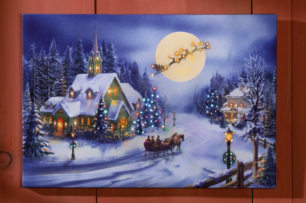 Collections Etc Holiday Village Lighted Wall Canvas Decoration