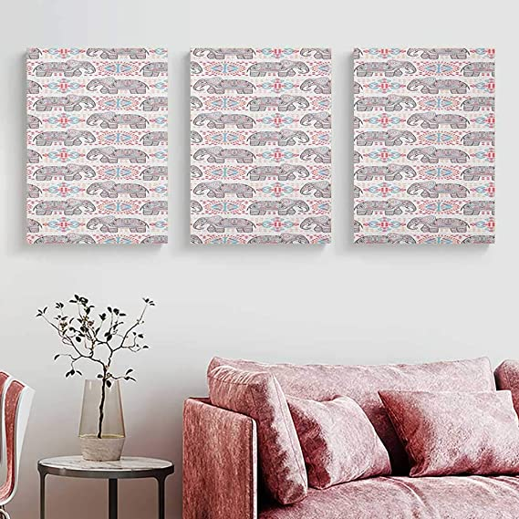 Amazon.com: Anniutwo Elephant Poster Prints Colorful Ethnic Art Pattern with Tribal Elements and Asian Folkloric Influences Triptych Wall Art Multicolor W ...
