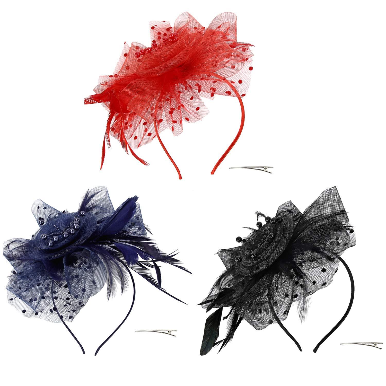 Discoball cerchietto elegante con fiore e piume eventi di gala Black 5 da donna fascinator per matrimoni