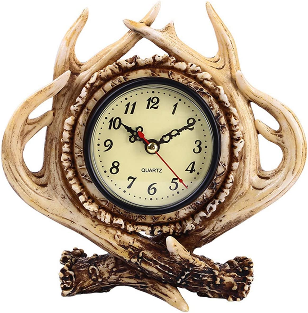 Diskary Table Decoration Antlers Desk Clock, Vintage Mantel Clock Non Ticking Quartz Clock, Decoration for Home,Office,Living Room,Bedroom,Bar - Gift for Friend,Colleague,Boss,Father,Mother