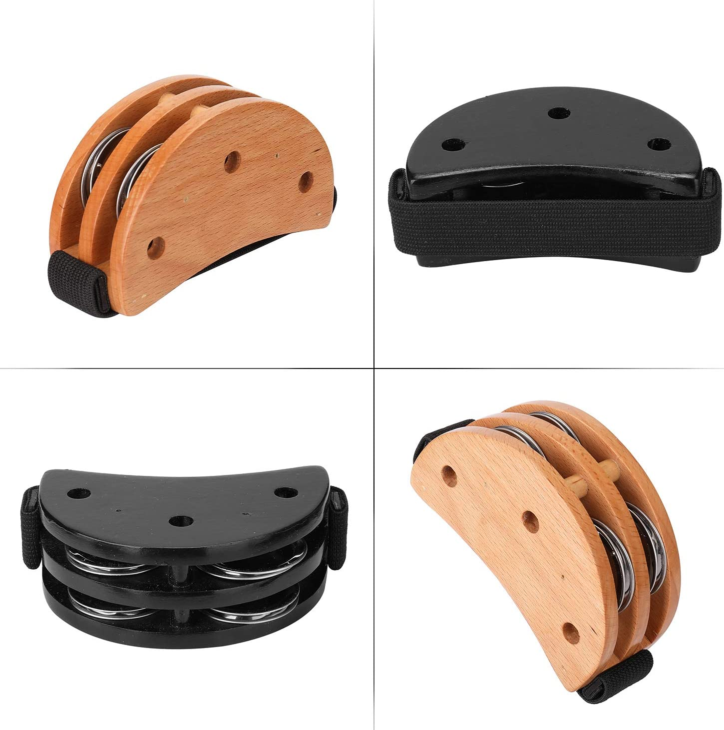 Extaum Pied Tambourin,Pied Tambourin Black Drum Companion Jingle Tambourine Instrument de Percussion Accessoire L/éger Main Pied Tambourin /à double usage