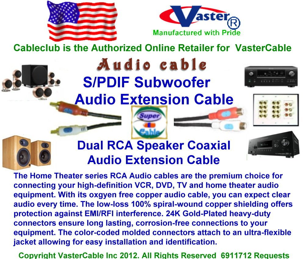 SuperEcable - 3 Pcs/Pack - 6 Ft 24K Gold Plated S/PDIF Subwoofer, Dual RCA Speaker Coaxial Audio Extension Cable