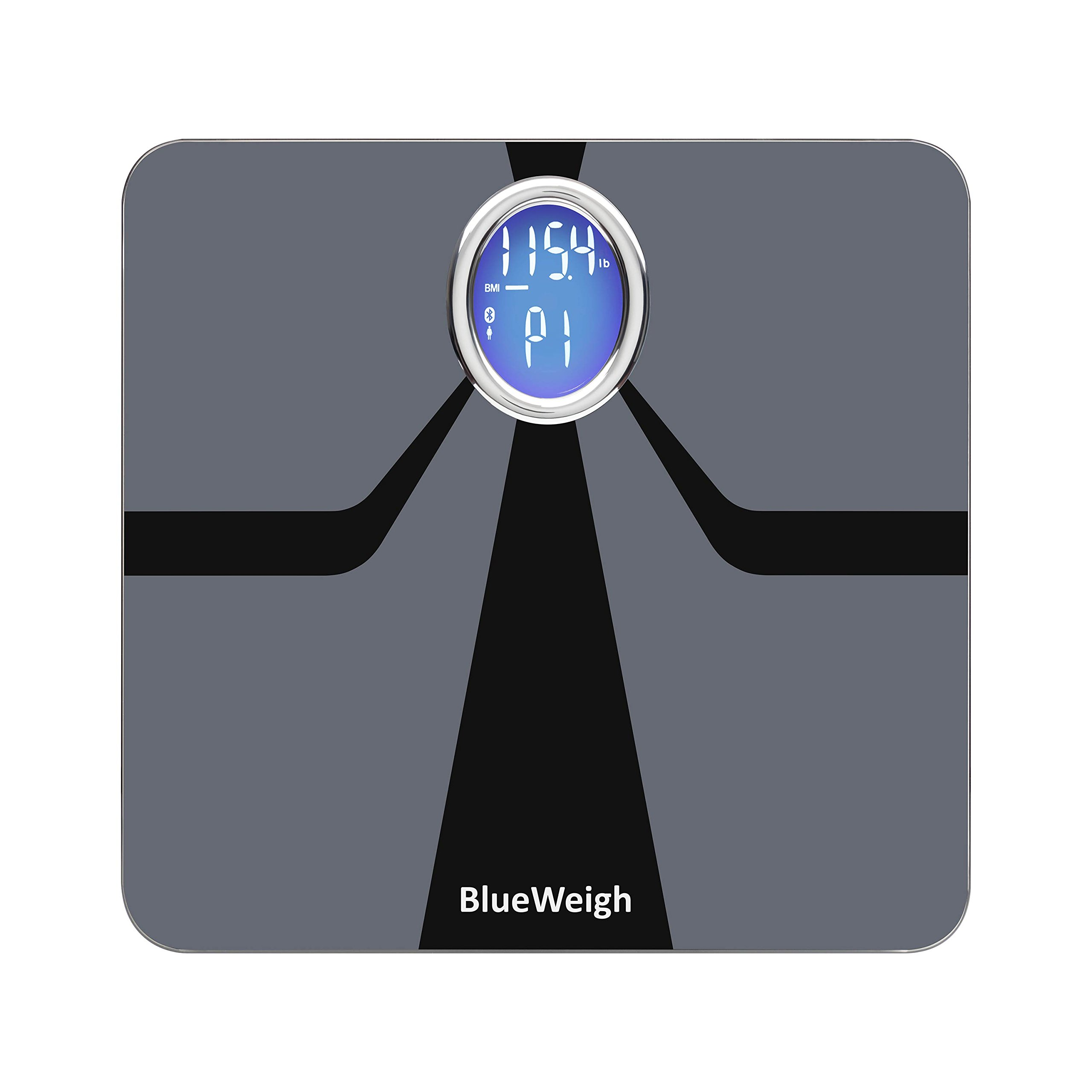 BlueWeigh Oreo Smart Body Composition Analyzer Scale. Measures: Body Weight/Fat/Muscle/Water Content/Bone Mass, Visceral Fat, BMI and BMR