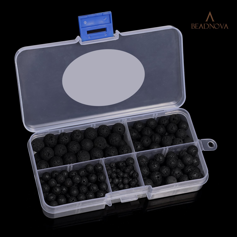 BEADNOVA 4-10mm Natural Black Lava Rock Stone Gemstone Round Loose Beads with 7pcs Chakra Beads and 2m Crystal Stretch Cord for Jewelry Making 340pcs Box Set