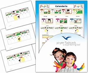 Tarjetas de vocabulario - Calendario - Calendar Flash Cards in Spanish for Kids, Toddlers,