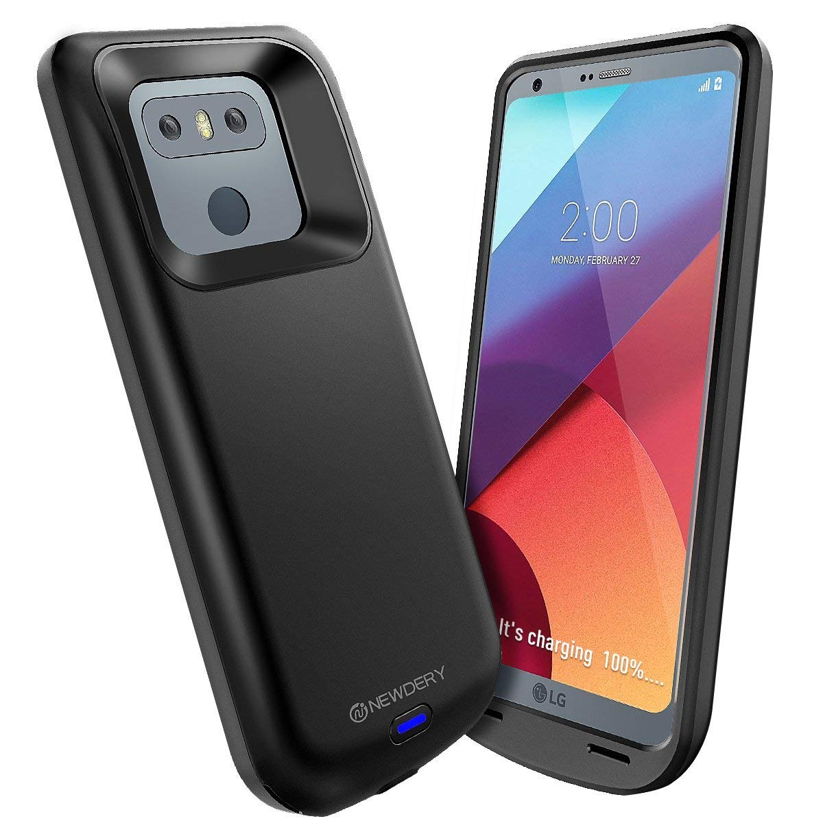 LG G6 Battery Case 5000mAh, Newdery LG G6/G6+ Portable Extended Charger Case, Rechargeable Power Bank Charging Cover [Original USB - C Input/Output Port and Full Protection] Compatible G6/G6+ (Black)