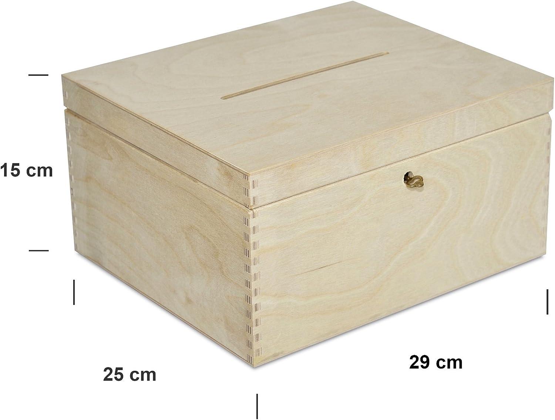 Creative Deco Holzkiste mit Deckel Geldgeschenke Hochzeit Holzbox Ideal f/ür Lagerung mit Schloss und Schl/üssel Geschenkkarten Box Geldbox Briefbox Unlackiert Kasten 29 x 25 x 15 cm