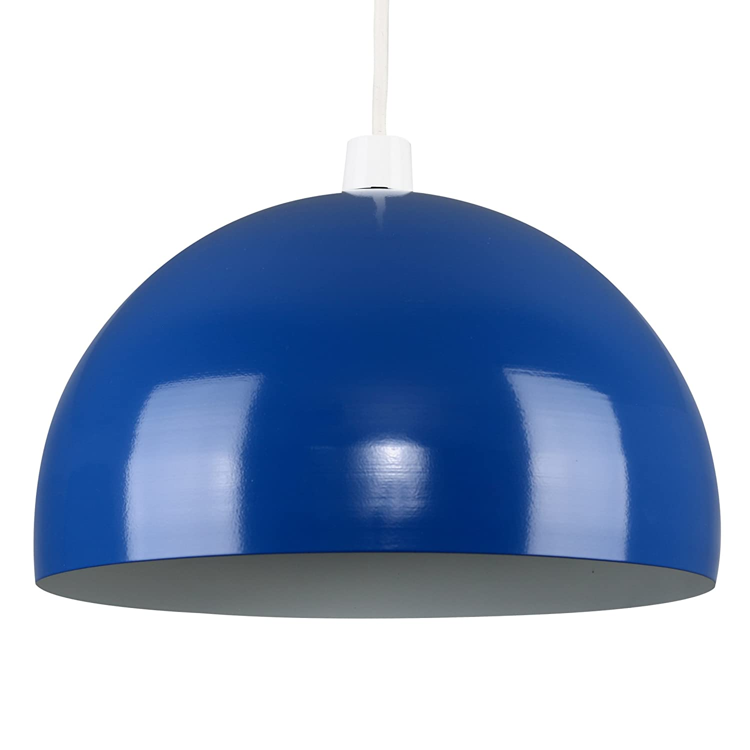 modern gloss royal blue metal dome ceiling pendant light shade