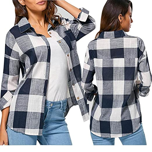 69ea63313d1ac Taore Women s Check Plaid Casual Loose Shirts Long Sleeve T Shirt Tops  Blouse (
