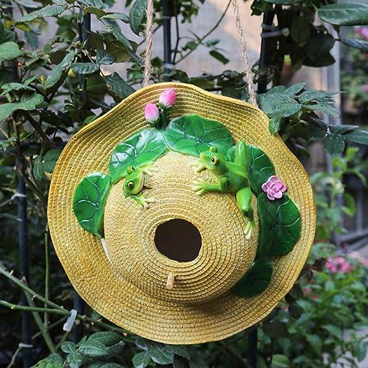 Adornos al Aire Libre para el jardín Colgante de decoración de Nido de pájaro con Sombrero de Paja@Rana Sombrero de Paja Nido de pájaro: Amazon.es: Jardín