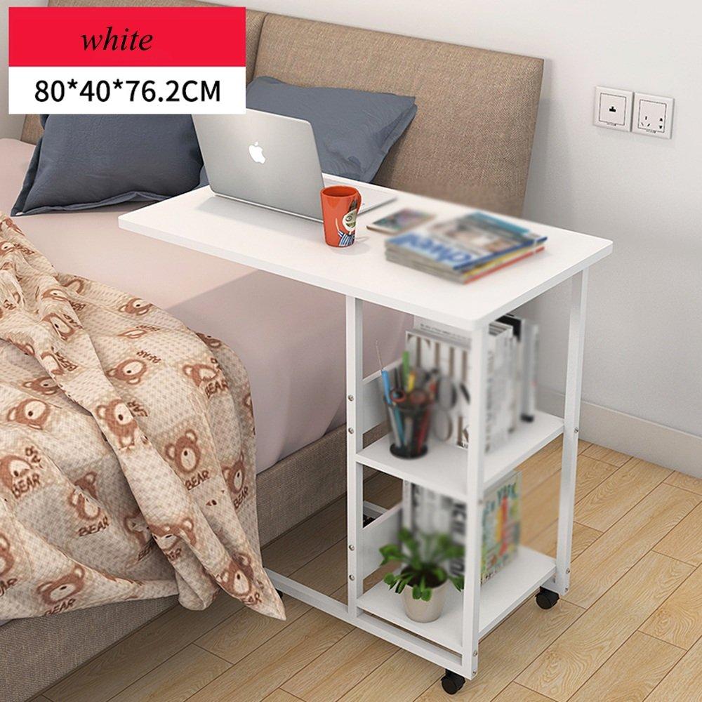 XIA 折り畳みテーブル ベッドサイドラップトップテーブルシンプルベッドデスクシンプルなレイジーリトルテーブルリムーバブルテーブルクリエイティブシンプルで簡単にインストールする多機能レイジーテーブルホワイトウッドの色 折りたたみテーブル (色 : 白) B07DSZ32X6 白 白