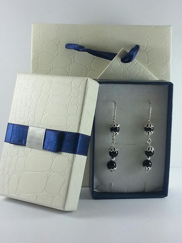 Orecchini Sardegna stile Su coccu in argento e agata nera