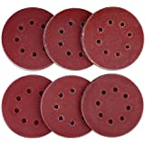 AUSTOR 60 Pieces 8 Holes Sanding Discs, 5 Inch Hook and Loop 40/60/ 80/120/ 180/240 Grit Sandpaper Assortment for Random Orbital Sander