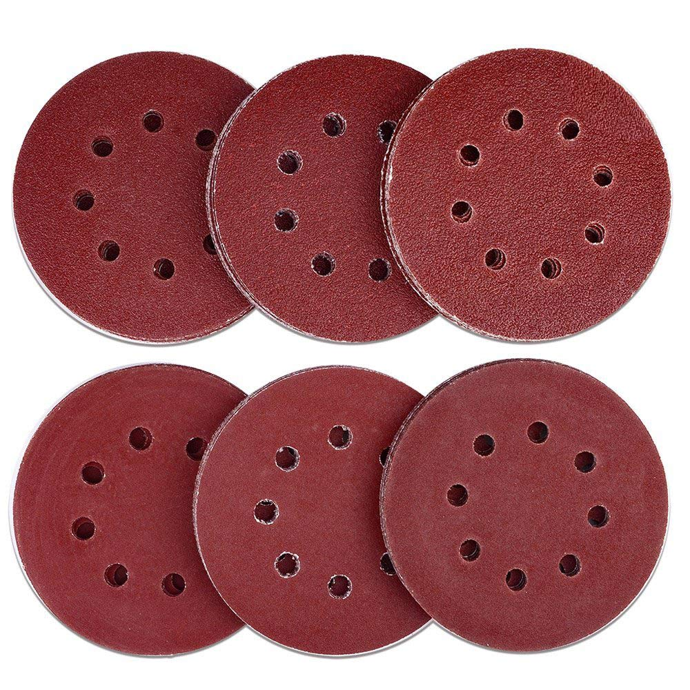 AUSTOR 60 Pieces 8 Holes Sanding Discs, 5 Inch Hook and Loop 40/60/ 80/120/ 180/240 Grit Sandpaper Assortment for Random Orbital Sander