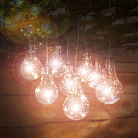 MELINERA Indoor Outdoor LED Summer Fairy Lights White Bulbs 10 pcs