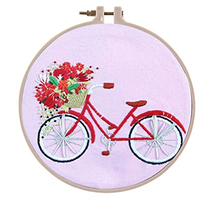 Khalee Full Set of Hand-Made Embroidery Starter Kit Cross Stitch Kits for Beginners Including Patterned Embroidery Cloth Plastic Hoop,Color Floss,Tools Kit Cow Head, 6 Inches in Diameter