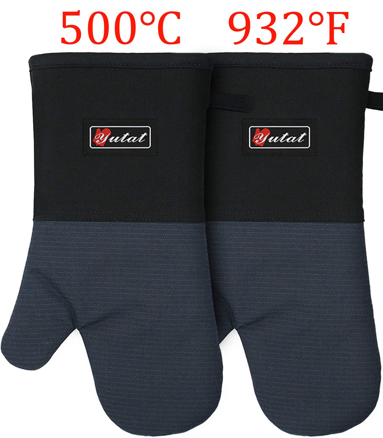 Oven Mitts, Cook Mittens YUTAT Aramid Mitts with Quilted Liner Professionally Protect Your Hand During Baking Doing BBQ or Carry Hot Pot (1 Pair)