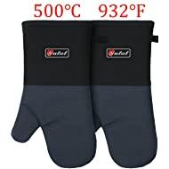YUTAT Oven Mitts, Cook Mittens Aramid Mitts with Quilted Liner Professionally Protect Your Hand During Baking Doing BBQ or Carry Hot Pot (1 Pair)
