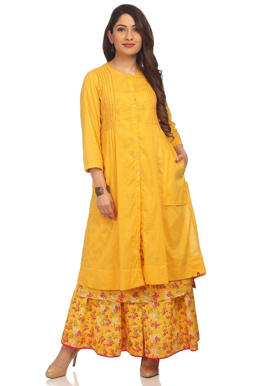 BIBA Women's Yellow Front Open Cotton Kurta Size 34