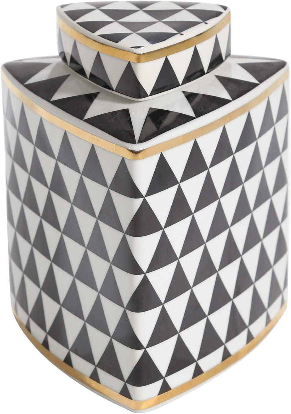 Sagebrook Home Ceramic Triangular Covered JAR, Black/White/Gold, 6.25x6.25x15,