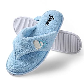a7cdf059decb0 Image Unavailable. Image not available for. Color  Womens Cozy Spa Thong Flip  Flops Plush Lining Anti-slip Slippers ...