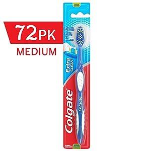 COLGATE Extra Clean Toothbrush Medium, Medium Toothbrush, Bulk Toothbrushes, Travel Toothbrush,(Case of 72) (Model Number: 155114)