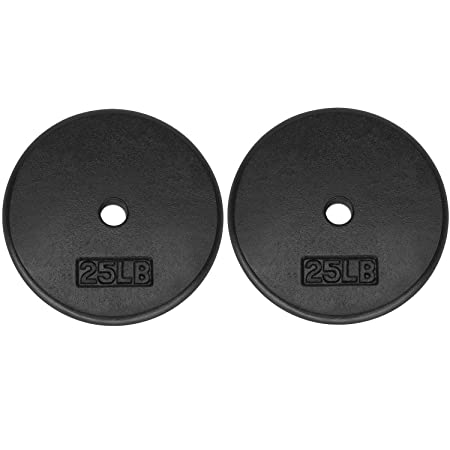 Yes4All Standard 1-inch Cast Iron Weight Plates 5, 7.5, 10, 15, 20, 25 lbs Single Pair