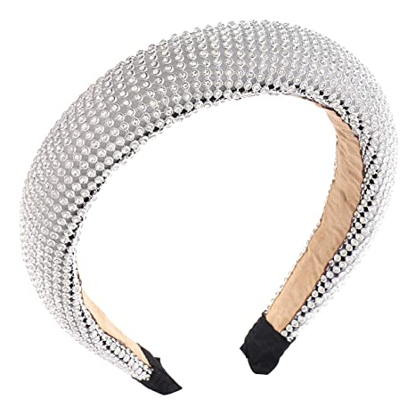 Details about  /Women Rivet Headband Padded Crystal Width Hairband Hoops Thick Hair Accessories