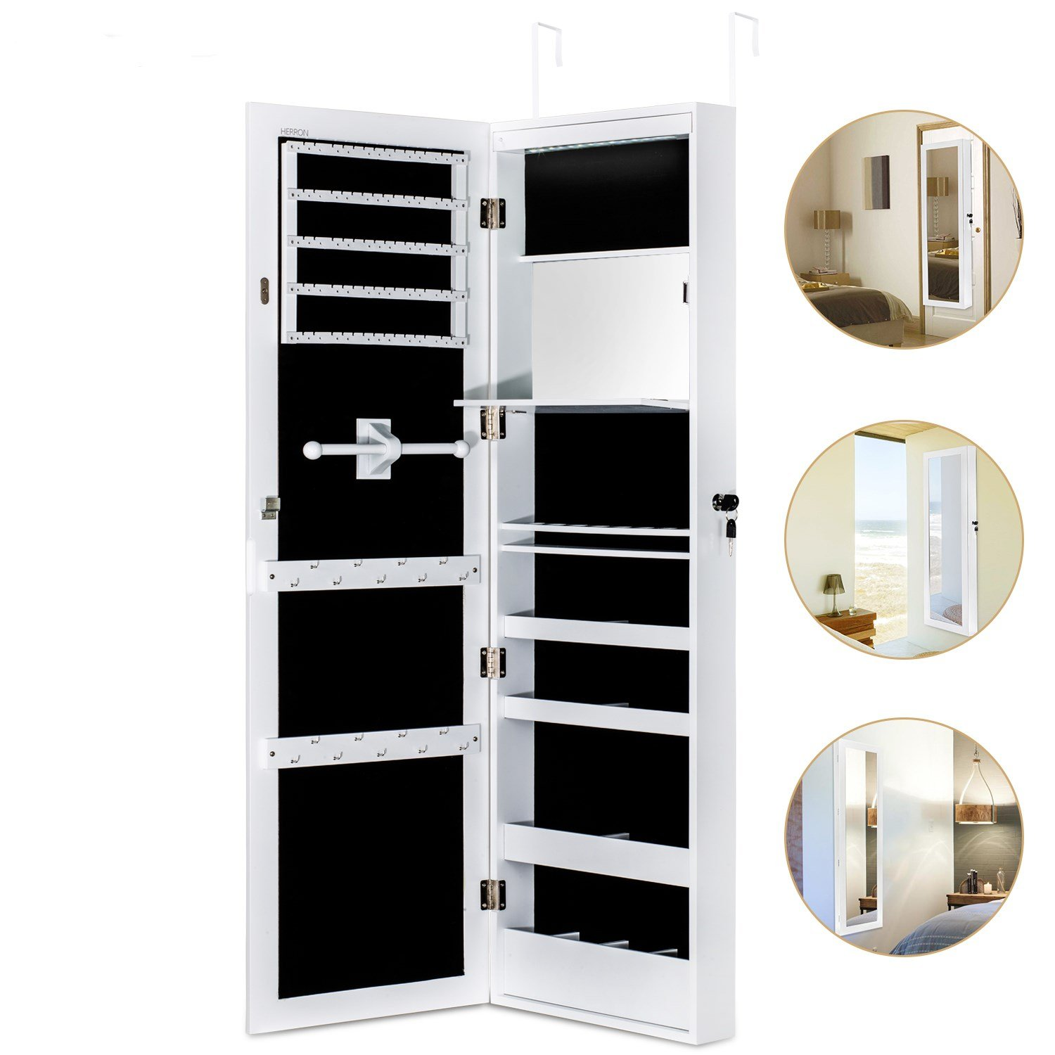 Merveilleux HERRON Jewelry Cabinet Armoire With Mirror Led Light Wall Door Mounted  Organizer Storage,White