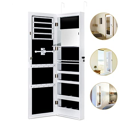warehouse mirrored wall organizer holder cabinet or mount necklace armoire for display wood product mirror jewelry woman door storage usa store
