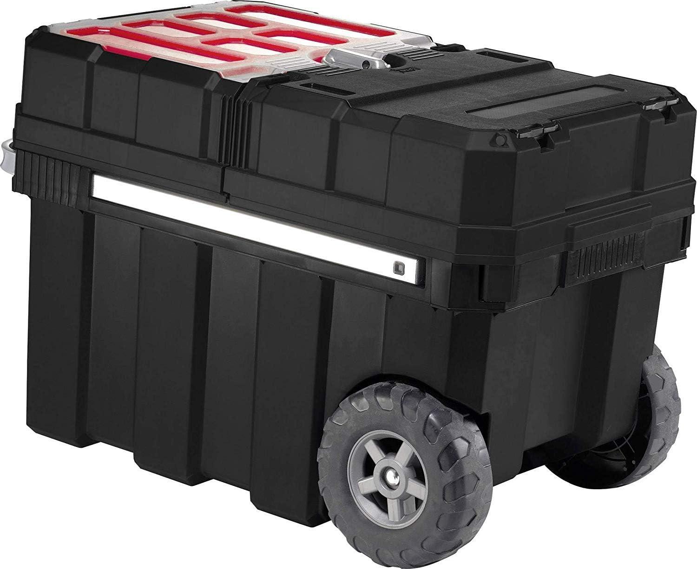 Keter 237787 - Caja de herramientas con ruedas, color negro y rojo