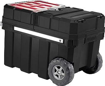 Keter 237787 - Caja de herramientas con ruedas, color negro y rojo ...