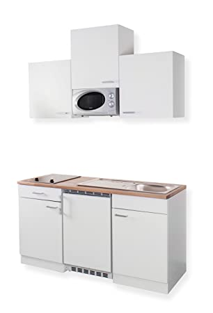Mebasa MEBAKB15W2 Miniküche in Weiß 150 cm Oberschränke, Hängeschränke und  Glaskeramik Kochfeld, Kühlschrank und Mikrowelle